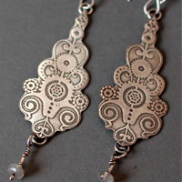 6° per minute, steampunk clock earrings in sterling silver