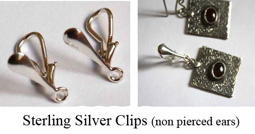 Sterling silver earrings clips for non pierced ears