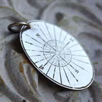 Boussole, rose wind pendant in sterling silver