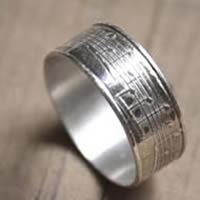 Crescendo, music notation ring in sterling silver