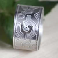 Ga Yixe, Mixtec meander ring in sterling silver