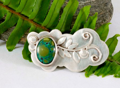 Ivy, vegetal brooch in sterling silver and turquoise