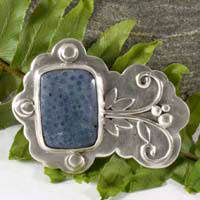 Koralli, coral reef brooch in sterling silver and blue coral