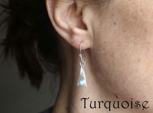 Adasam, December birthstone turquoise triangle sterling silver earrings