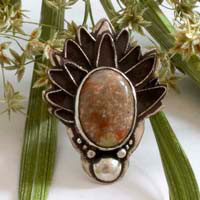 Autumn artichoke, Greek legend ring in silver and autumn jasper