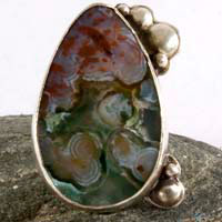 Badala, colorful raindrops ring in sterling silver and ocean jasper