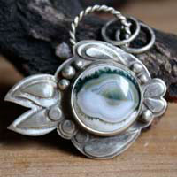 Blowfish 2, fugu fish, pufferfish pendant in sterling silver and ocean jasper