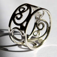 Brocéliande, celtic ring with scrolls and spirals in sterling silver
