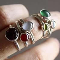 Constance, birthstone sterling silver ring