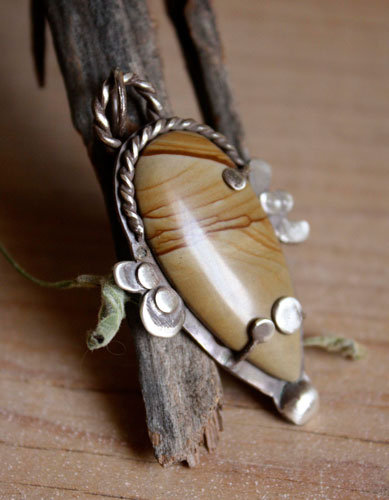 Engelis, desert wind pendant in sterling silver and picture jasper