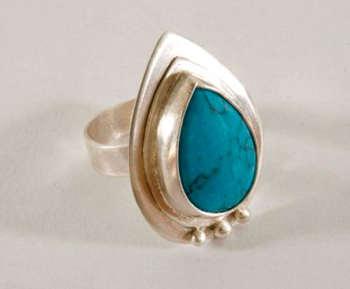 Firoza, Indian ring in sterling silver and turquoise