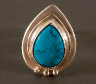 Custom sterling silver ring with turquoise