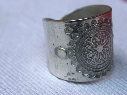 Flower mandala, Buddhist-inspired ring in sterling silver