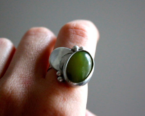 Himalaya moon, moon ring in sterling silver and aventurine