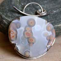 In the heart of the ocean, primordial waters pendant in sterling silver and ocean jasper