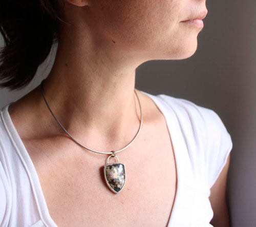 Juuri, boreal forest pendant in sterling silver and ocean jasper