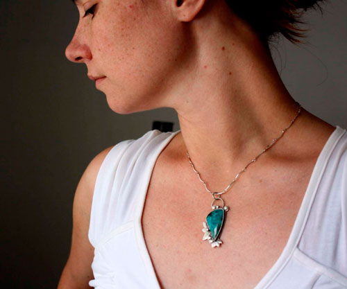 Kipos, garden of the Hesperides pendant in silver and chrysocolla