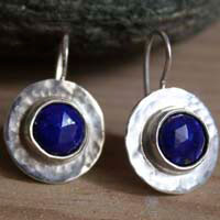 Lapis, egyptian earrings in sterling silver and lapis lazuli
