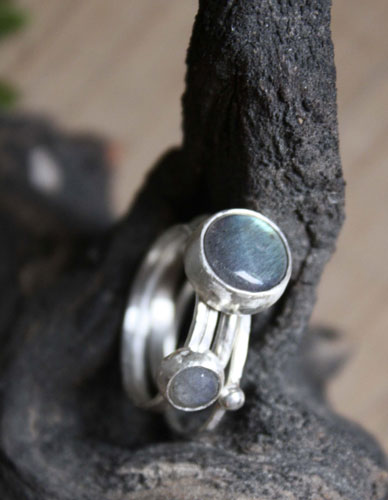 Lunar eclipse, sterling silver rings with labradorites