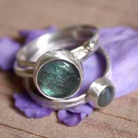 Lunar eclipse, stackable rings in sterling silver and labradorite