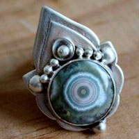 Mahila, indian ring in sterling silver and ocean jasper