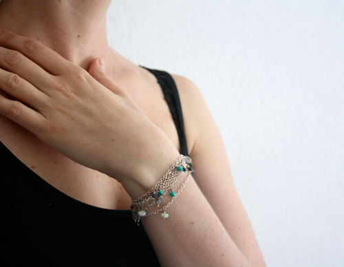 Majorelle, blue necklace, choker, anklet, bracelet in sterling silver and semiprecious stones
