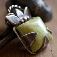 Manjano, imaginary square fruit pendant in sterling silver and lemon jade