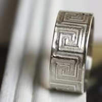 Mexica, Mexican meander ring in sterling silver