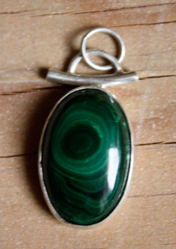Moss, enchanted forest pendant in sterling silver and malachite