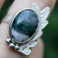 Moss leaf, winter forest ring in sterling silver and moss agate