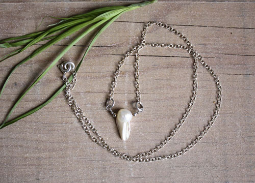 Nacre, sterling silver mother of pearl necklace