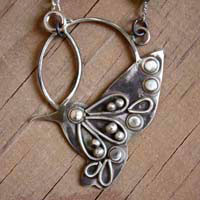 Nectar, hummingbird necklace in sterling silver