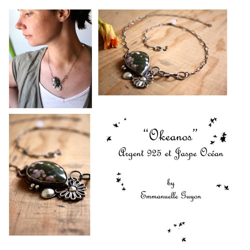 Okeanos, Greek mythology necklace in sterling silver and ocean jasper