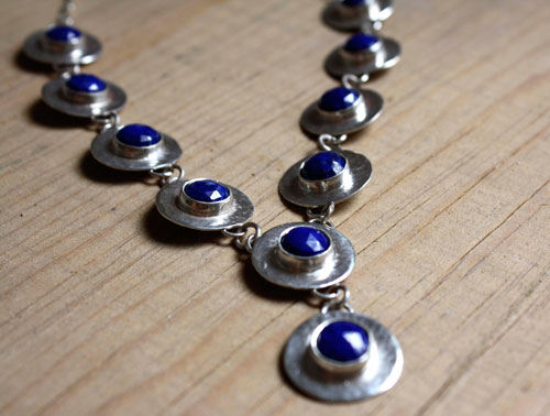 Queen of the Nile, Egyptian necklace in sterling silver and lapis lazuli