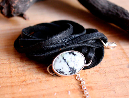 Sapheda, dentritic agate, leather and sterling silver bracelet
