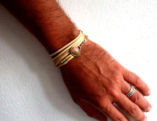 Sarayu, colors of late season wristband in sterling silver, leather and autumn jasper