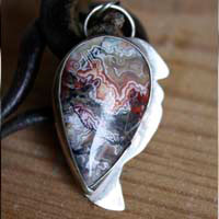 Sayap, draco volans pendant in sterling silver and Mexican crazy lace agate