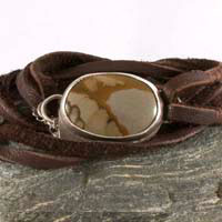 Shandar, picture jasper, leather and sterling silver man bracelet