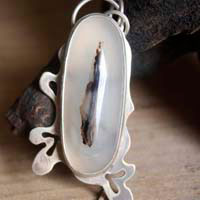 Shiroi Ha, white oak leaf tree pendant in sterling silver and dendritic agate