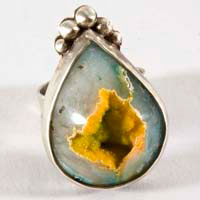 Sydan, sterling silver and blue yellow druzy agate ring