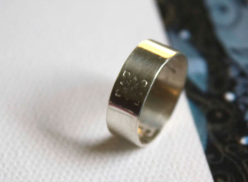The poet's ring, Wide band sterling silver ring