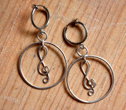 Treble clef, musical note earrings in sterling silver