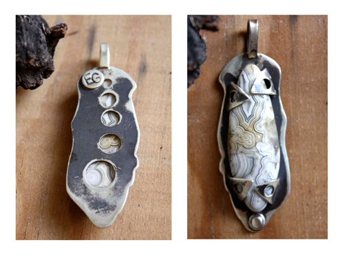 Vortex, crazy lines pendant in sterling silver and Mexican crazy lace agate
