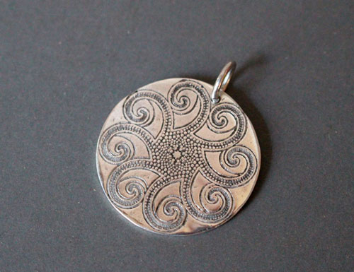 Aquatic mandala, octopus mandala pendant in sterling silver