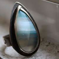 Atmosphere, sterling silver blue agate ring