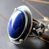 Autumn equinox, moon leaf ring in sterling silver and lapis lazuli