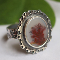 Autumn reflections, season landscape ring in sterling silver and dendritic agate