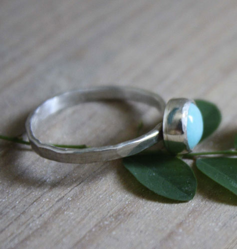 Azurine, Amazonite hammered sterling silver ring