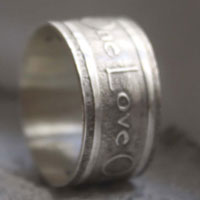Custom ring, quote of One from U2 group ring in sterling silver