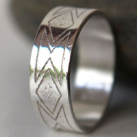 Custom wedding ring, personalized wedding jewelry in sterling silver
